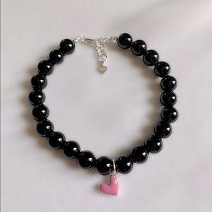 Black Onyx Sterling Silver Heart Charm Bracelet